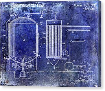 Stein Canvas Print - 1893 Beer Manufacturing Patent Blue by Jon Neidert