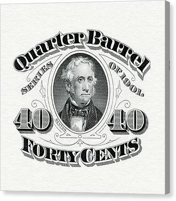 1901 Quarter Beer Barrel Tax Stamp Canvas Print