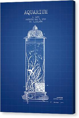 1902 Aquarium Patent - Blueprint Canvas Print by Aged Pixel