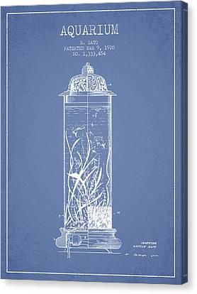 Fish Tanks Canvas Print - 1902 Aquarium Patent - Light Blue by Aged Pixel