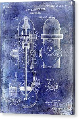 1903 Fire Hydrant Patent Blue Canvas Print by Jon Neidert