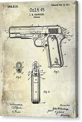 1911 Colt 45 Firearm Patent Canvas Print by Jon Neidert