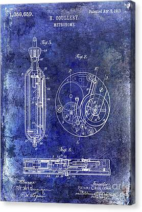 1913 Pocket Watch Patent Blue Canvas Print
