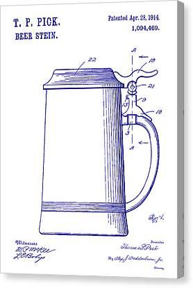 Stein Canvas Print - 1914 Beer Stein Patent Blueprint by Jon Neidert