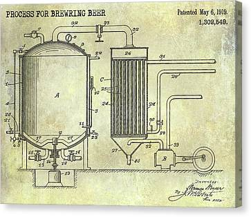 Stein Canvas Print - 1919 Beer Brewing Patent by Jon Neidert