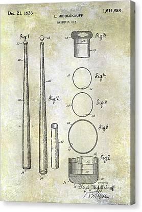 1926 Baseball Bat Patent Canvas Print by Jon Neidert