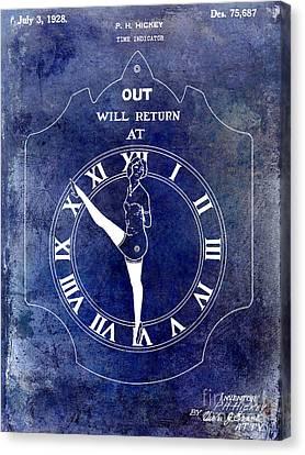 1928 Time Indicator Patent Blue Canvas Print by Jon Neidert