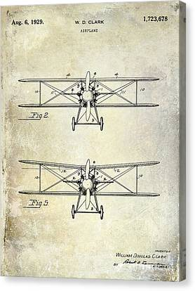 1929 Airplane Patent  Canvas Print