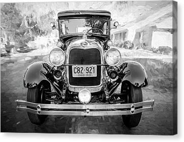 1929 Ford Model A Tudor Police Sedan Bw Canvas Print