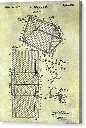 1930 Crab Trap Patent Canvas Print by Jon Neidert