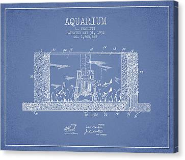 1932 Aquarium Patent - Vintage Canvas Print by Aged Pixel