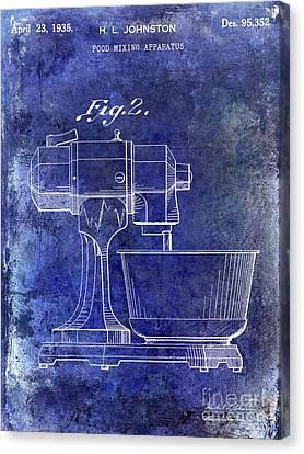 1935 Food Mixing Apparatus Patent Blue Canvas Print