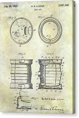 1937 Beer Keg Patent Canvas Print