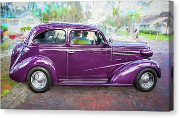 1938 Chevrolet 2 Door Sedan Deluxe C119 Bw Canvas Print