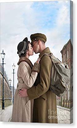 Canvas Print featuring the photograph 1940s Lovers by Lee Avison
