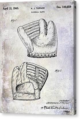Ty Cobb Canvas Print - 1945 Baseball Glove Patent by Jon Neidert