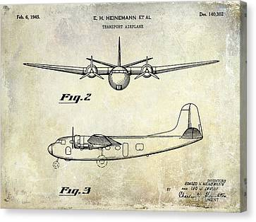 1945 Transport Airplane Patent  Canvas Print