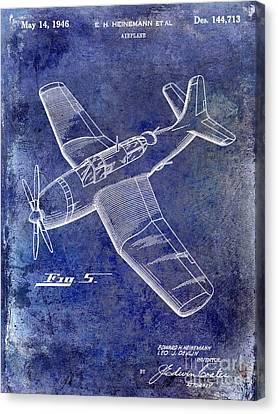 Stearman Canvas Print - 1946 Airplane Patent Blue by Jon Neidert