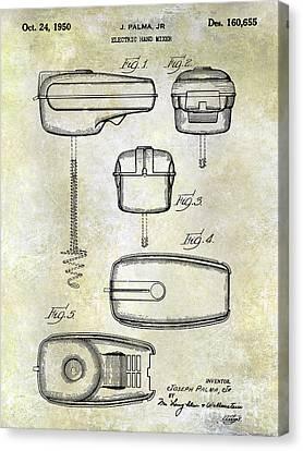 1950 Electric Hand Mixer Patent Blue Canvas Print