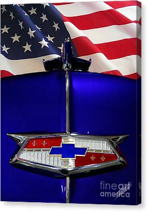 1954 Chevrolet Hood Emblem Canvas Print by Peter Piatt