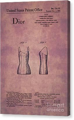 1955 Dior Combination Garment Design 1 Canvas Print