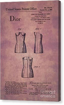 1955 Dior Combo Bra And Corset Design 1 Canvas Print