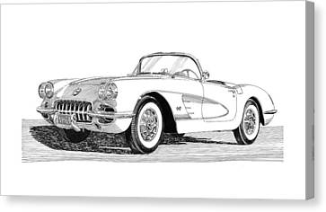 1960 Corvette Canvas Print by Jack Pumphrey