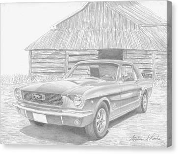 1966 Ford Mustang Classic Car Art Print Canvas Print by Stephen Rooks