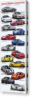1978 - 2011 Special Edition Corvettes Canvas Print