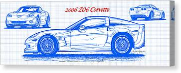 2006 Z06 Corvette Blueprint Series Canvas Print by K Scott Teeters