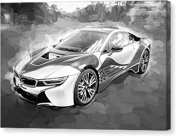 2015 Bmw I8 Hybrid Sports Car Bw Canvas Print by Rich Franco