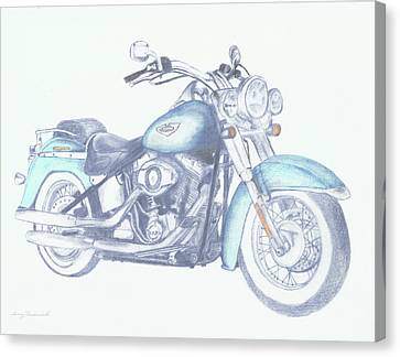 Canvas Print featuring the drawing 2015 Softail by Terry Frederick