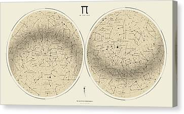 2017 Pi Day Star Chart Azimuthal Projection Canvas Print by Martin Krzywinski