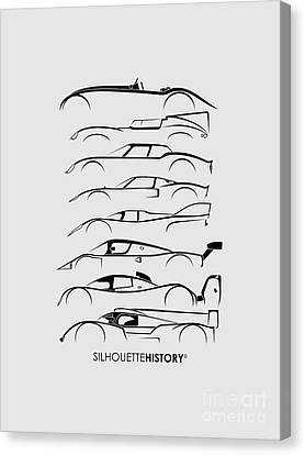 24 Hours Race Cars Silhouettehistory Canvas Print