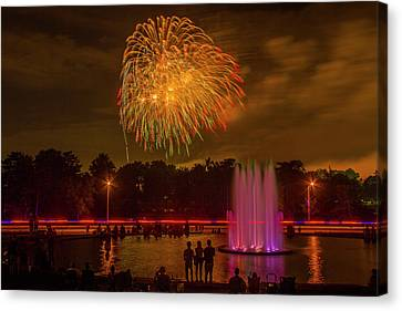 4th Of July Fireworks In Forest Park Canvas Print by Garry McMichael