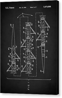 Canvas Print featuring the digital art 8 Man Rowing Shell Patent by Taylan Apukovska