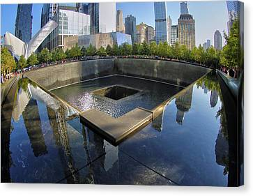 Canvas Print featuring the photograph 9/11 Memorial by Mitch Cat