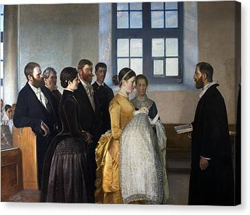 A Baptism Canvas Print by Michael Ancher