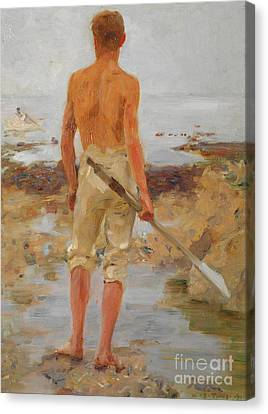 A Boy With An Oar  Canvas Print