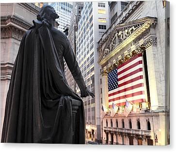 Building Canvas Print - A Bronze Statue Of George Washington by Justin Guariglia