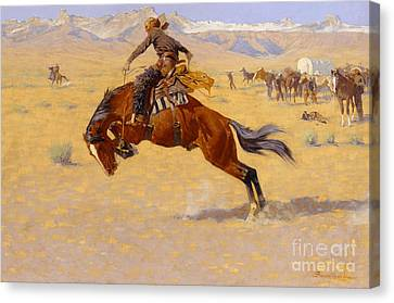 Muted Canvas Print - A Cold Morning On The Range by Frederic Remington