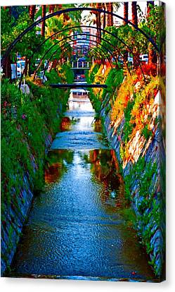 A Digital Painting Of A Colorful Storm Drain In Kusadasi Turkey Canvas Print by Ken Biggs