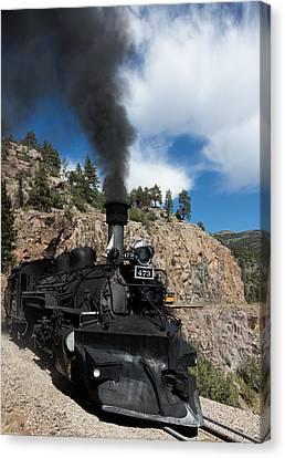 Canvas Print featuring the photograph A Durango And Silverton Narrow Gauge Scenic Railroad Train Chugs Through The San Juan Mountains by Carol M Highsmith