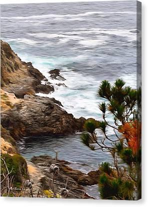 A Grey Day At Big Sur 2 Canvas Print by Barbara Snyder