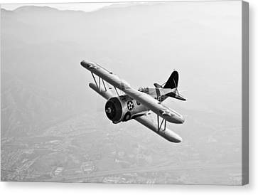 A Grumman F3f Biplane In Flight Canvas Print by Scott Germain