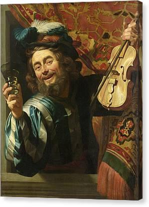 A Merry Fiddler Canvas Print by Gerard van Honthorst