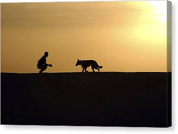 Bonding Canvas Print - A Military Working Dog And His Handler by Stocktrek Images