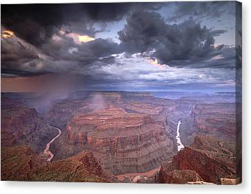 A Monsoon Storm In The Grand Canyon Canvas Print