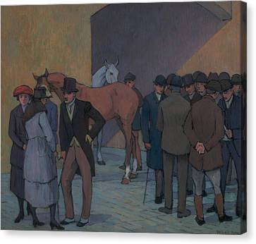 Camden Town Group Canvas Print - A Morning At Tattersall's by Robert Bevan