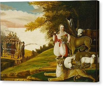 A Peaceable Kingdom With Quakers Bearing Banners Canvas Print by Edward Hicks